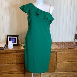 Ralph Lauren Green One Shoulder Flounce Dress 14